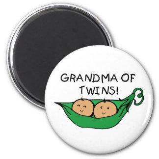 Abuela de la vaina de los gemelos imán redondo 5 cm