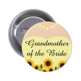 Abuela de los girasoles de la novia que casa el Pi Pin Redondo De 2 Pulgadas