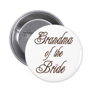 Abuela de los marrones con clase de la novia pin redondo de 2 pulgadas