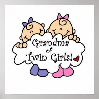 Abuela de los regalos gemelos de los chicas póster