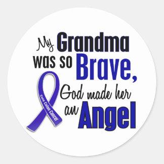 Abuela del ÁNGEL 1 del cáncer de colon Pegatina Redonda