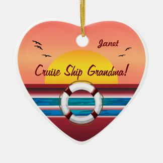 Abuela del barco de cruceros - corazón ornamentos para reyes magos