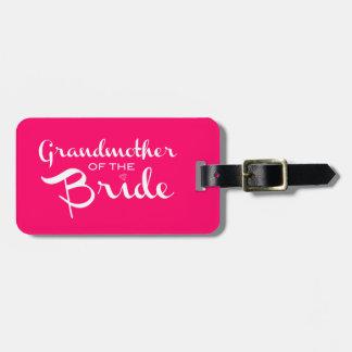 Abuela del blanco de la novia en rosas fuertes etiqueta de equipaje
