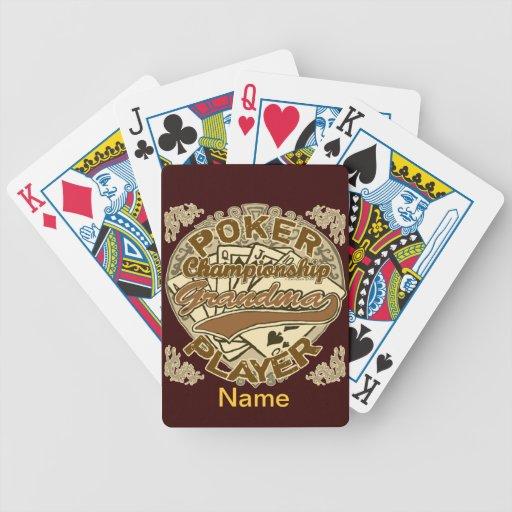 Abuela del campeón del póker barajas de cartas