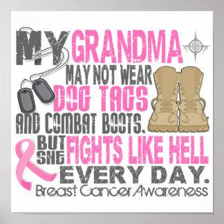 Abuela del cáncer de pecho de las placas de identi póster