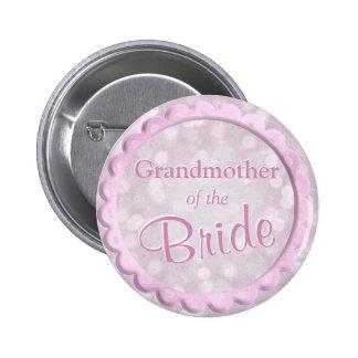 Abuela del confeti del rosa de la novia pin redondo de 2 pulgadas