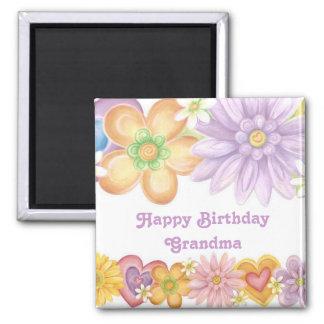 Abuela del feliz cumpleaños imán cuadrado