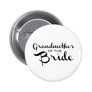 Abuela del negro de la novia en blanco pin redondo de 2 pulgadas