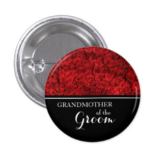 Abuela del novio que casa rosas rojos pin redondo de 1 pulgada