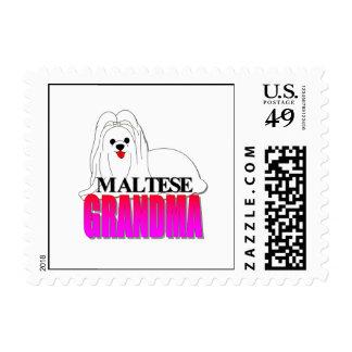 Abuela del perro maltés estampillas