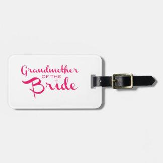Abuela del rosa de la novia en blanco etiqueta de equipaje