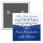 Abuela floral blanca del azul real del novio pin