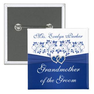 Abuela floral blanca del azul real del novio pins