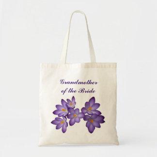 Abuela floral de la primavera púrpura de la novia bolsa de mano