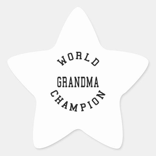 Abuela fresca retra del campeón del mundo de los pegatina en forma de estrella
