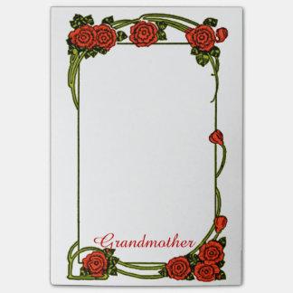 Abuela - frontera de los rosas rojos grande post-it notas