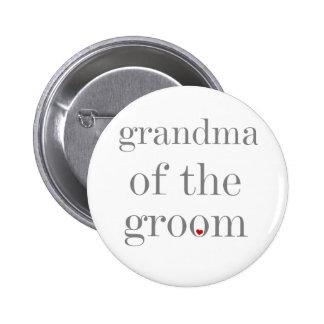 Abuela gris del texto del novio pin redondo de 2 pulgadas