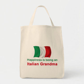 Abuela italiana feliz bolsa tela para la compra