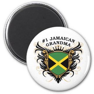 Abuela jamaicana del número uno imán redondo 5 cm