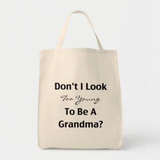 Abuela joven (personalizable) bolsa tela para la compra