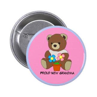 Abuela: Nueva abuela orgullosa, botón del oso de p Pin Redondo De 2 Pulgadas