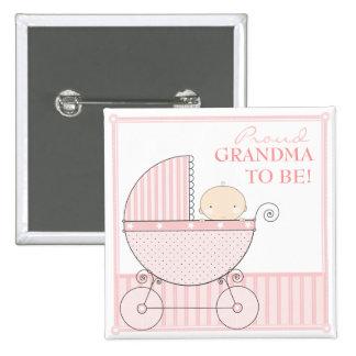 Abuela orgullosa a ser carro dulce del rosa de la  pin cuadrado