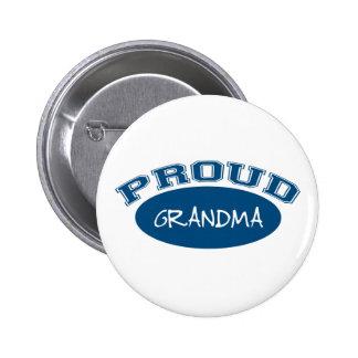 Abuela orgullosa (azul) pin redondo de 2 pulgadas