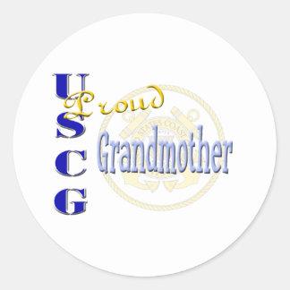 Abuela orgullosa de USCG Pegatina Redonda