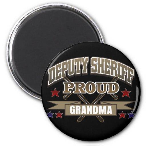 Abuela orgullosa del ayudante del sheriff imán redondo 5 cm