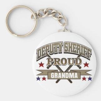 Abuela orgullosa del ayudante del sheriff llavero redondo tipo pin