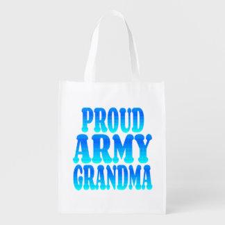 Abuela orgullosa del ejército bolsas reutilizables