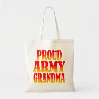 Abuela orgullosa del ejército en colores alegres bolsa tela barata