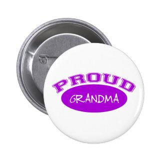 Abuela orgullosa (púrpura) pin redondo de 2 pulgadas