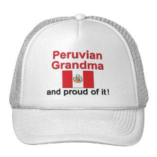 Abuela peruana orgullosa gorros bordados