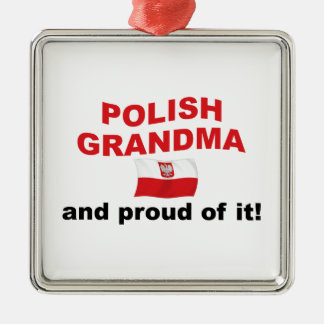 Abuela polaca orgullosa adorno navideño cuadrado de metal
