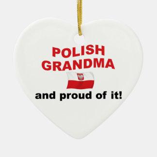 Abuela polaca orgullosa adorno navideño de cerámica en forma de corazón