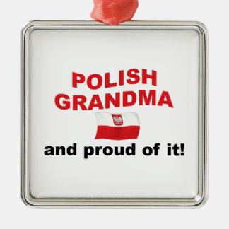 Abuela polaca orgullosa adorno cuadrado plateado