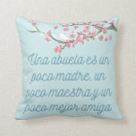 """Abuela Quote with Spring Branches Pillow Cover<br><div class=""""desc"""">A beautiful illustration of a tree branch with a bird featuring a quote in spanish that translates to """"A grandmother is a little bit of a mother, a little bit of a teacher and a little bit of a best friend."""" It will bring a smile to your abuela and lighten...</div>"""
