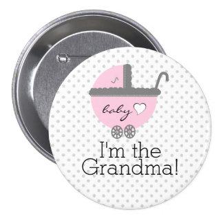 Abuela rosada de la ducha del Carro-Bebé Pin Redondo De 3 Pulgadas