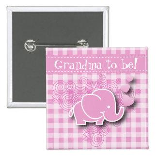 Abuela rosada del elefante el | del bebé a ser chapa cuadrada 5 cm