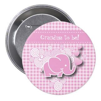 Abuela rosada del elefante el | del bebé a ser chapa redonda 7 cm