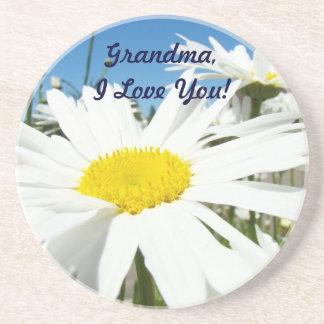 ¡Abuela te amo margaritas blancas de los práctico Posavasos Para Bebidas