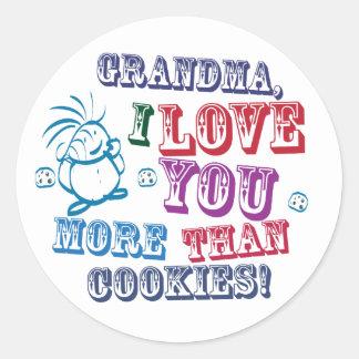 ¡Abuela te amo más que las galletas! Etiquetas Redondas