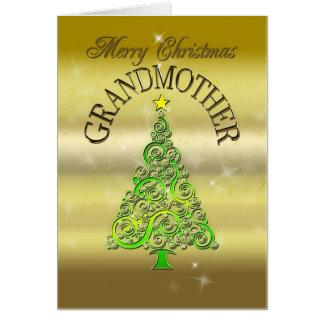 Abuela, una tarjeta de Navidad del efecto del oro