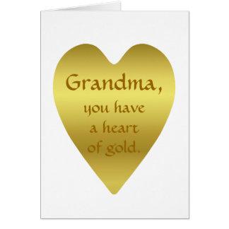 Abuela, usted tiene un corazón de oro tarjeta de felicitación