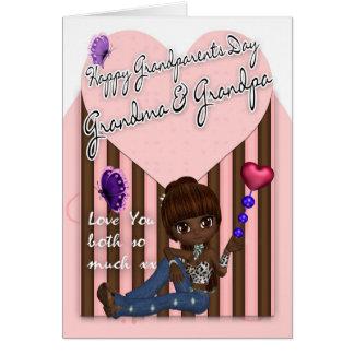 Abuela y abuelo, tarjeta del día de los abuelos -