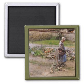 Abuela y cosecha en octubre iman
