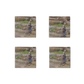 Abuela y cosecha en octubre imán de piedra