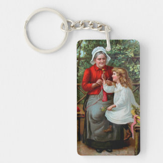 Abuela y nieta del vintage en banco llavero rectangular acrílico a doble cara