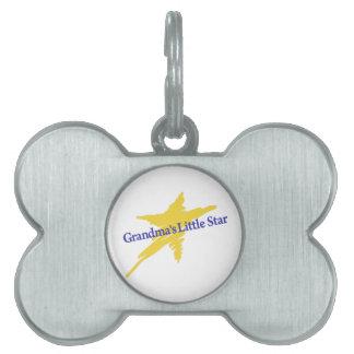 Abuelas poca estrella placa de nombre de mascota